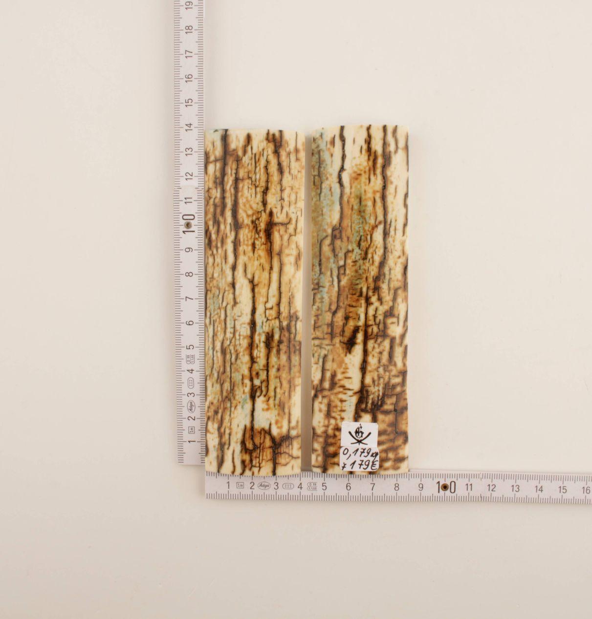 Stabilised mammoth bark handles